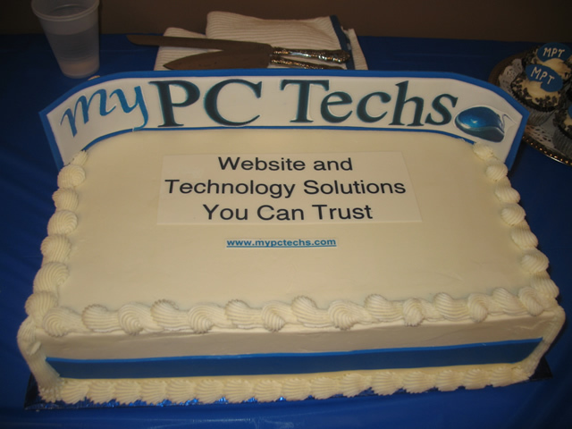 my PC Techs cake for our ribbon cutting