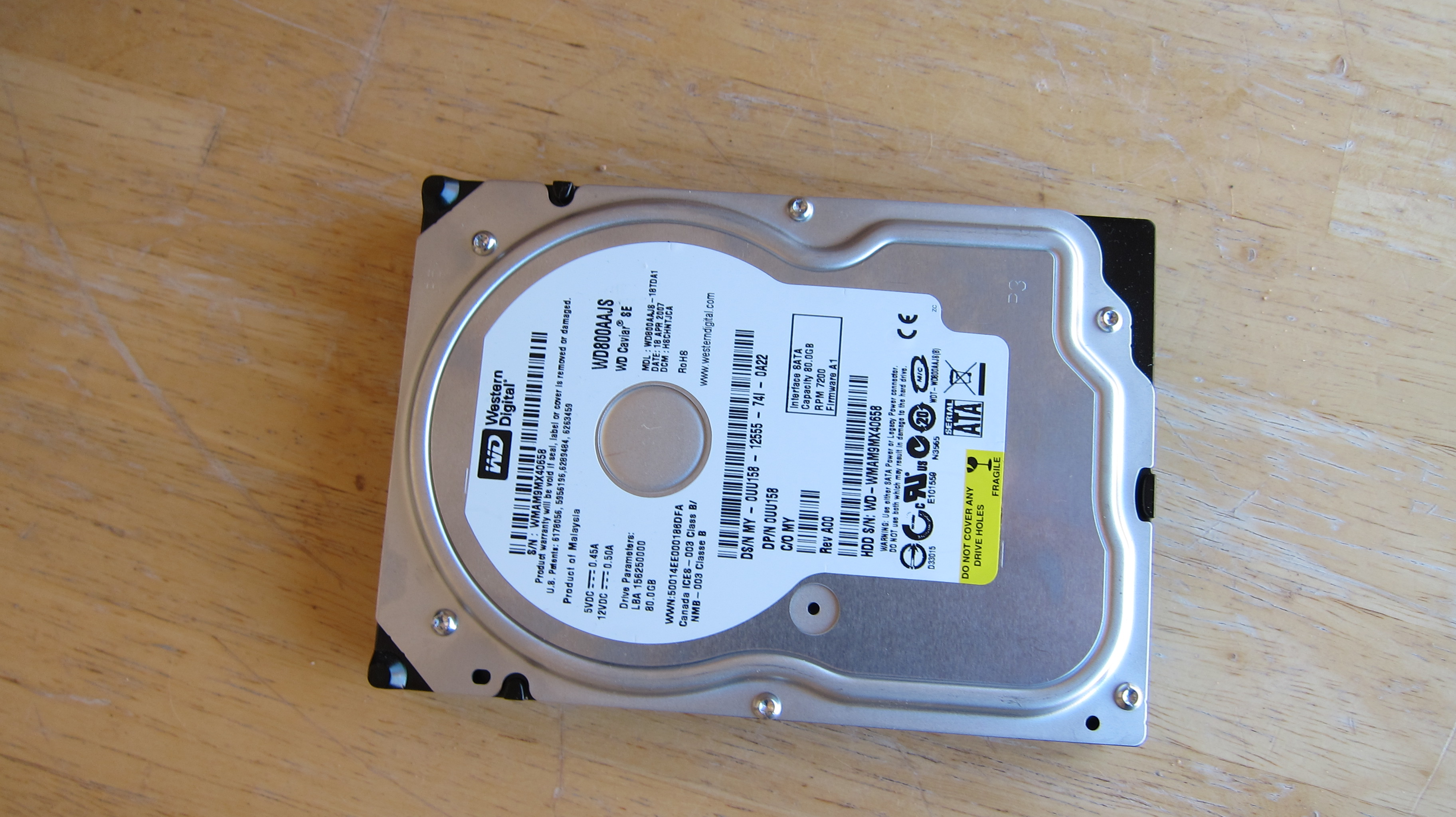 Western Digital hard drive removed from a working system