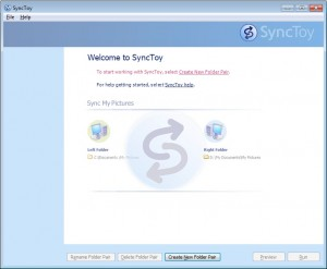 SyncToy's opening screen